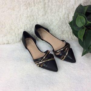 Cato Black & Gold Pointy Toe Flats Size 7